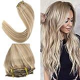 YoungSee 7pcs/120g Clip in Extensions Echthaar Blond Gesträhnt 100% Remy Echte Haare Clip in Extensions Blond für Komplette Dickes Haare 45 cm