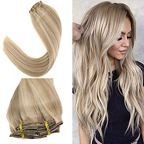YoungSee 7pcs/120g Clip in Extensions Echthaar Blond Gesträhnt 100% Remy Echte Haare Clip in Extensions Blond für Komplette Dickes Haare 50 cm