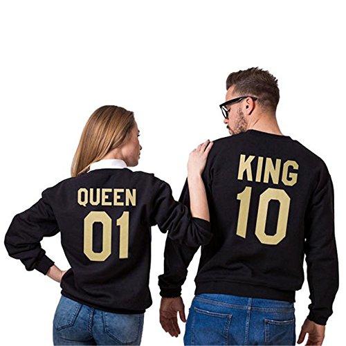 Bekleidung Loveso Pullover Herbst Winter Valentine Couple Lover Kleidung König 10 und Königin 01 Muster Schwarz Tops Sweatshirt Sweater Mantel Outwear Shirt ((Größe):38 (L), Schwarz B (Herren)) (Valentine Mantel)