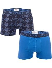 Ben Sherman Mens Billy 2 Pack Boxer Shorts in Navy