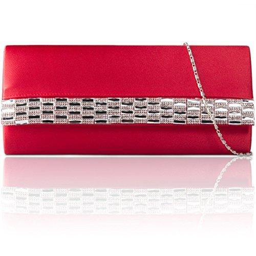 xardi nuovo raso diamante donna pochette sposa Designer partito di sera borsa Red
