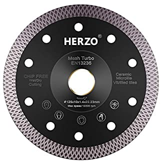 HERZO Disco Diamante 125 mm,disco de corte de diamante para corte de Porcelanico,Cerámica dura,Azulejos,Mármol,Granito,Piedra caliza