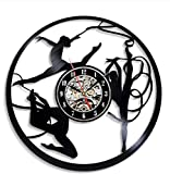BGNH Adesivo da Parete Ballett Dischi in Vinile Wanduhr Moderne Design Bodybuilding Dekorative Mädchen Zimmer Uhr Wand Home Decor Geschenke für Ballerina