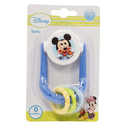 Disney Mickey Minnie Mouse Rattle Toy Teether New Born Baby 0 Months + BPA free (Mickey Mouse)