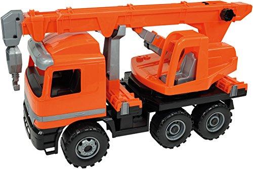 SIMM Spielwaren Lena 02177 - Starke Riesen Actros Kranwagen, orange, ca. 70 cm