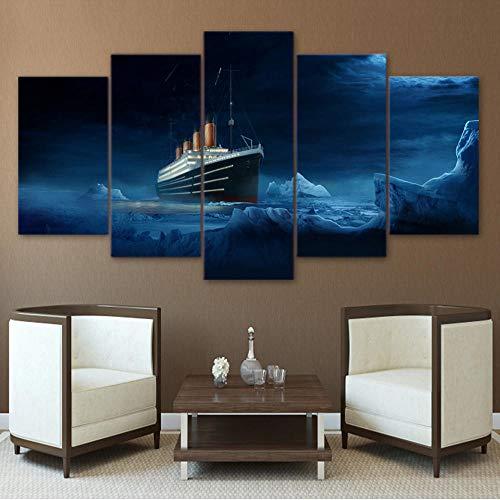 Xzfddn Hd Gedruckt Modulare Bild 5 Panel Titanic Eisberg Film Wandkunst Rahmen Leinwand Poster Malerei Für Wohnzimmer Wohnkultur-30X40/60/80Cm,With Frame - Titanic Hd