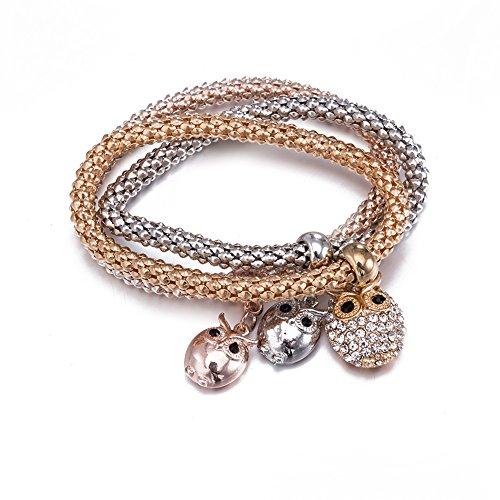 Armband Kleine Gold (Styleziel Damen Armband Set 3 Armbänder mit kleiner Eule als Anhänger Rotgold Gold Silber pl mit Zirkonia Kristalle Zip 2119)