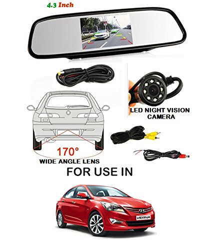 Volga Car Reversing kit- 4.3 Inch TFT LCD Rearview Mirror Monitor Backup Camera 4 Parking Sensors (BLACK) Alarm For Hyundai Verna 4S