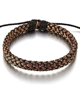 Klassiker Braun Geflochtene Lederarmband Herren Damen Armband Echtes Leder Wickeln Schweißband