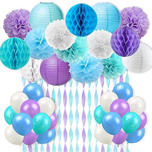 Kreatwow Under The Sea Decoraciones para Fiestas Suministros para niñas Sirena Fiesta de cumpleaños Fiesta de Bienvenida al bebé Ducha Nupcial Decoraciones