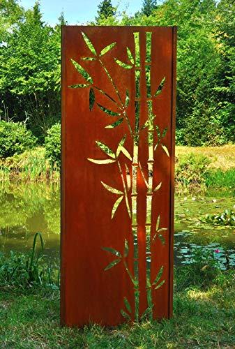 Gartenwand Sichtschutz Bambus 2 rost Stahl 75x195 cm