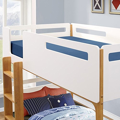 Happy Beds Islington Wooden Bunk Bed White and Oak with 2 x Spring Mattresses 3' Single 90 x 190 cm