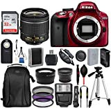 Nikon D3300 DSLR Camera with 18-55mm Lens (Red) and 17PC Accessory Bundle ?