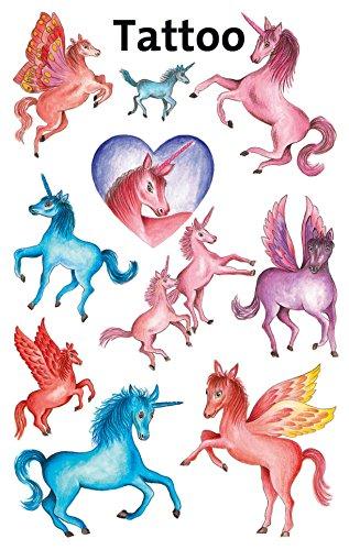 AVERY Zweckform 56669 Temporäre Tattoos Einhörner (Kindertattoos, dermatologisch getestet, Kindergeburtstag, Kinder zum Spielen) 10 Motive für Mädchen