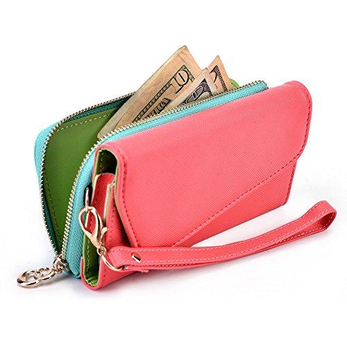 Kroo d'embrayage portefeuille avec dragonne et sangle bandoulière pour Smartphone Sony Xperia E1D2005 Magenta and Yellow Rouge/vert