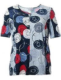 98e40f33c8e7b2 Chalou Kurzarm T-Shirt Damen Blau mit Kreis-Muster Große Größen Elegant  Sommer