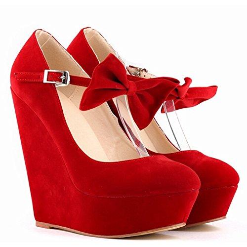 Oasap Femme Chaussure A Talons Compensés Couleur Vive Bride Cheville Nœud Papillon Rouge