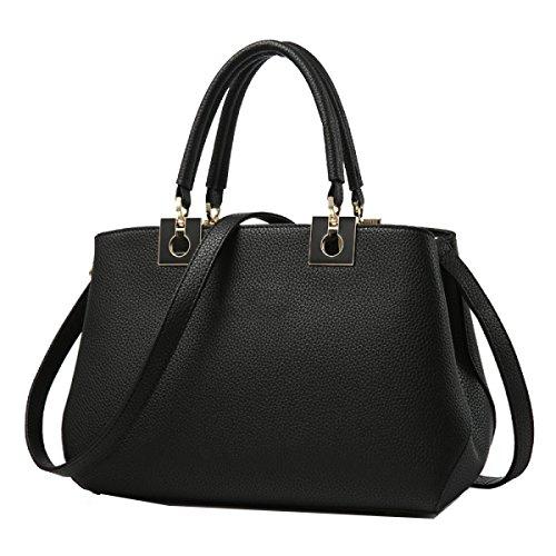Borse Yy.f Moda Donna Sacchetto Di Spalla Di Grande Capacità Borsa Di Colore Solido Multicolore Black