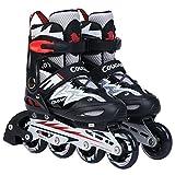 Nanle Einstellbare Inline-Skates für Kinder, mit abriebfesten PU-Rollen Rollerblades für Jugend Indoor Outdoor (Farbe : Schwarz)