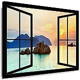 Boikal Bilder Fensterblick - Leinwandbild 70x80cm - Leinwand gespannt - Keilrahmenbild 1 Teilig XXL Wandbilder - Wanddeko - Fenster Motive auswählbar - Kunstdruck Meer, Strand Palmen VI1P1-54H