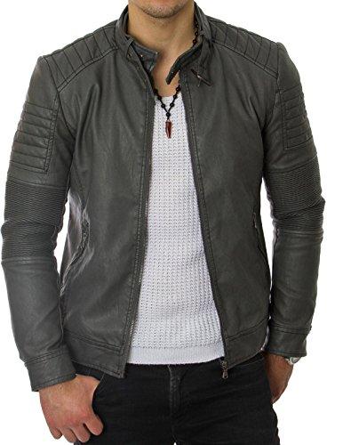 Prestige Homme Herren Biker-Jacke Kunst-Leder Gesteppt Gerippt Schwarz Grau MR03, Größe:S, Farbe:Grau (Leder Homme)