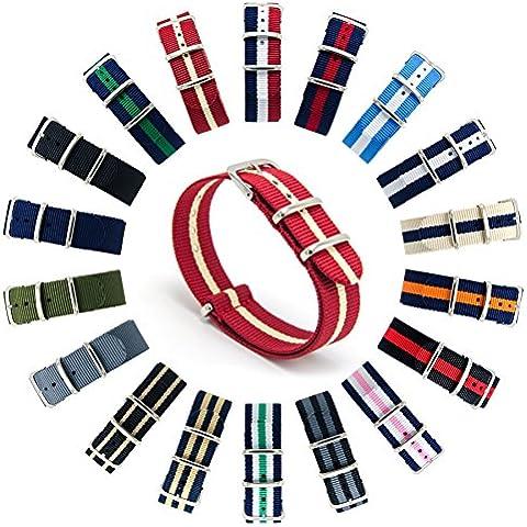 CIVO Cinturini NATO Premium Balistico Nylon Cinturino Cinghia Strap con Fibbia in Acciaio inox 22 Millimetri 18 Millimetri 20 Millimetri (Crimson/Khaki, 18mm)