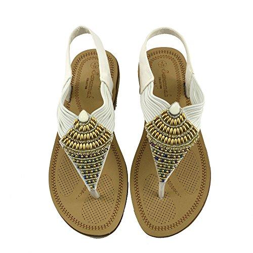 Kick Footwear - DONNE DELLE SIGNORE DI TV GLADIATORE IN ESTATE SPIAGGIA FLIP FLOP VACANZA SANDALI SCARPE Bianco F0989