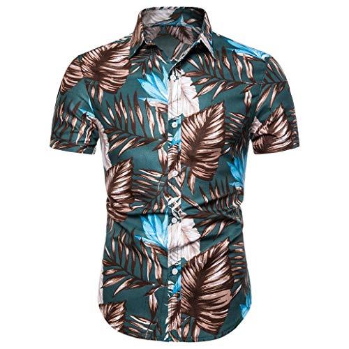 Delfine T-shirt Sweatshirt (CICIYONER Hawaihemd Herren Hemden Männer Sommer Bohe Leinen Kurzarm Basic T-Shirt Bluse Fit Slim Printed Top (L, Grün1))