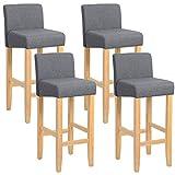 WOLTU® BH02dgr-4 Barhocker Bistrostuhl Holz Leinen Bistrohocker mit Rückenlehne, 4er Set, helle Beine aus Massivholz, Antirutschgummi, dick gepolsterte Sitzfläche aus Leinen, Dunkelgrau