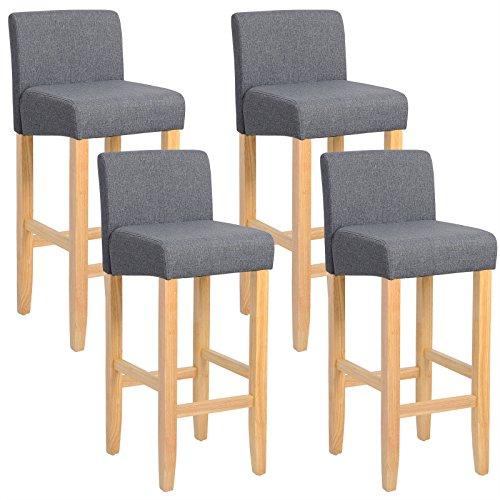 WOLTU® BH02dgr-4 Barhocker Bistrostuhl Holz Leinen Bistrohocker mit Rückenlehne, 4er Set, helle Beine aus Massivholz, Antirutschgummi, dick gepolsterte Sitzfläche aus Leinen, Dunkelgrau -
