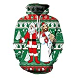 GPFDM Adult Unisex Hoodies 3D Printed Christmas Funny Santa Claus and Jesus Fashionable Pullover Sweatshirt Hooded, l/xl