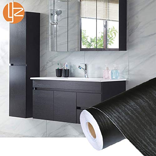 Unterhaltung Schrank Möbel (YYZC PVC Selbstklebend Wasserdicht Schwarz Holz Tapetenrolle Möbel Tür Desktop Schränke Kleiderschrank Vinyl Wandaufkleber Kontakt Papier (Dimensions : 60cmx2m))