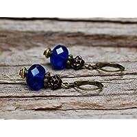 Vintage Ohrringe mit Glasperlen - royalblau, schwarz, antik-gold & bronze