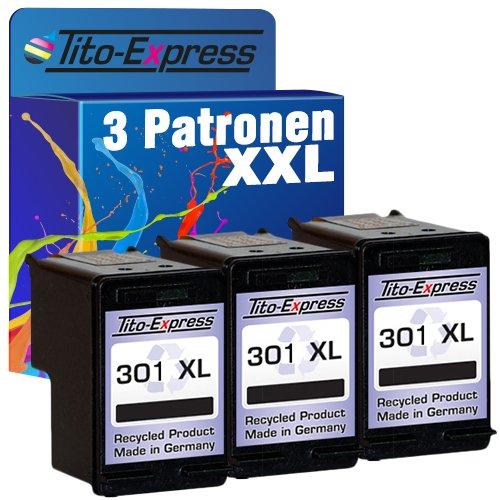 mSerie 3x Tinten-Patrone kompatibel mit HP 301 XL Black Deskjet 1000 3054a 3055 1050 1055 2050 2510 3050 ()