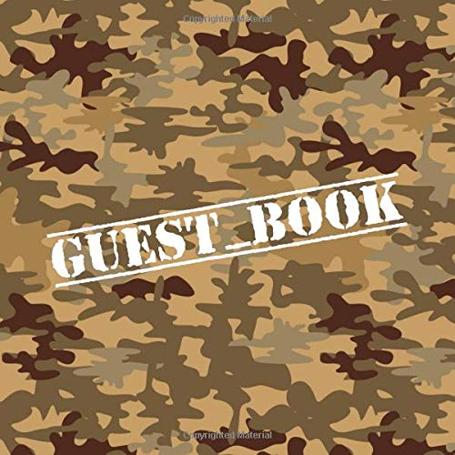 Guest Book: Military Camo Guestbook - Camouflage Sign in Book for Birthday Party, Military Going Away Party, Military Retirement - Memory Book with Lines for Name and Address (112 Pages) -