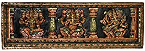 Exotic India The Great Trinity Panel - Lakshmi, Ganesha and Saraswati - South Indian Temple Wood Car