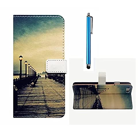 MUTOUREN Sony Xperia X Wallet Case Embossed Premium PU Leather Magnetic Flip Wallet Cover with Detachable Hand Strap & Card Slots & Stand Function+blue stylus accessories pen- bridge & road