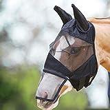 AOLVO Horse Fly Mask, equine Fly maschera con orecchie e naso lungo per bambino, piccoli, cavalli, adulto grande (Full Face–Maglia nera), small