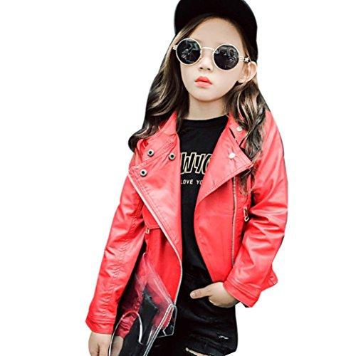 Janly Frühling Herbst Baby Kinder Mädchen Lederjacke Kinder Outwear Mantel Kleidung (8T, Rot)