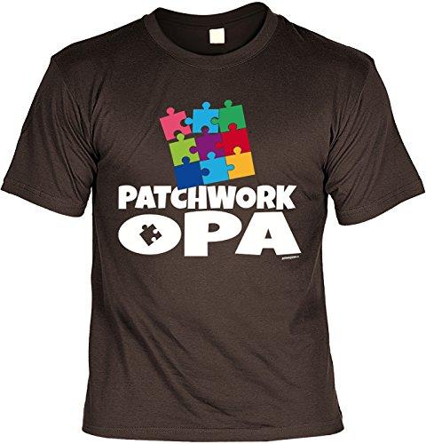 Geschenk für Opa T-Shirt Patchwork Opa Geschenkidee Opa lustiges Shirt für Opa Vatertag Großvater Funshirt Braun