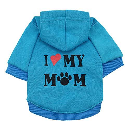 CricTeQleap Nette Haustier-Kleidung Welpen-Hoodie-Strickjacke-Hundewintermantel-warme Liebe Meine Mutter Gedrucktes Sweatshirt Lake Blue L