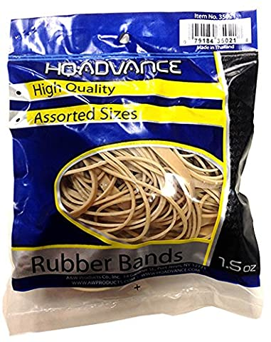 Rubber Bands 1.5Oz-Tan - Assorted Sizes