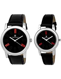 Timewear Analog Black Dial Unisex Couple Watches - 922Bdtcouple