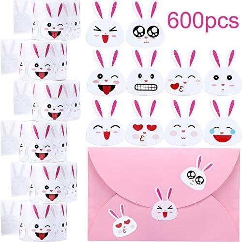 Chuangdi 600 Stück Osterhasen Aufkleber Emoji Bunny Face Aufkleber, Ostern Aufkleber 1,5 Zoll Haftetiketten auf 6 Rollen für Osterfest Dekorationsartikel (600 Stücke)