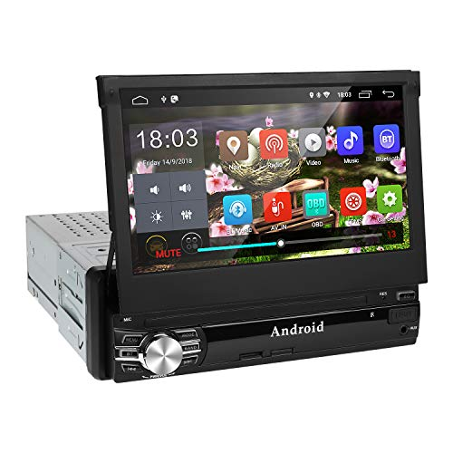 1Din Autoradio, amkle Autoradio Bluetooth 7Zoll Android 9.0 Touchscreen - GPS Navigator - Radio FM/AM/MP3/SD/USB/MP5 - Stereo Video Lenkradsteuerung Media Receiver - Rückfahrkamera - Freisprechen