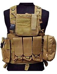 Ejército Militar MOLLE combate RRV asalto chaleco con bolsa/Protección Protector chaleco de seguridad de bronceado para táctico Camping Caza Airsoft al aire libre CS juego de guerra