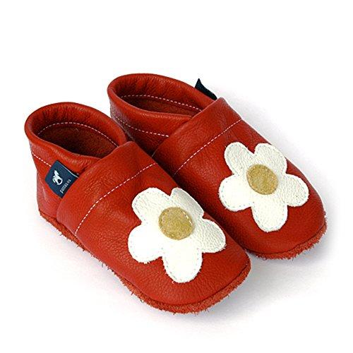 pantau.eu Leder Lauflernschuhe Krabbelschuhe Lederpuschen Babyschuhe mit Blume mittig ROT_WEISS_GELB vtQnzDJM