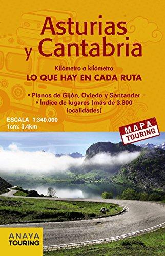 Mapa de carreteras Asturias y Cantabria (desplegable), escala 1:340.000 (Mapa Touring) por Anaya Touring