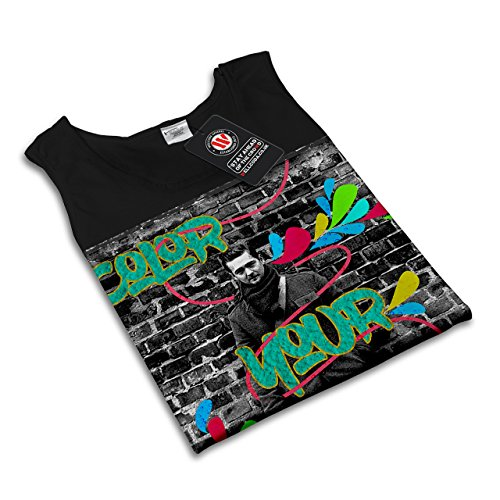 Farbe Ihre Verstand Mode Graffiti Damen Schwarz S-2XL Muskelshirt | Wellcoda Schwarz
