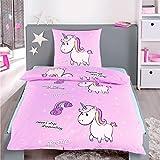 Dreamhome24 100% Baumwolle Fein-Biber Bettwäsche Mädchen Einhorn Prinzessin Pony 135x200, Designe:Einhorn